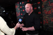 """UFC President Dana White is interviewed as he attends the grand opening night for """"R.U.N - The First Live Action Thriller"""" presented By Cirque du Soleil at Luxor Hotel and Casino on November 14, 2019 in Las Vegas, Nevada."""