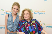 Actor Kim Matula (L) and President and CEO of The Annenberg Foundation, Wallis Annenberg at the grand opening of The Wallis Annenberg PetSpace on June 24, 2017 in Playa Vista, California.