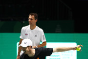 Andy Murray of Great Britain trains alongside Team GB Coach Colin Beecher during a practice session ahead of his quarter final match on Day Five of the 2019 Davis Cup at La Caja Magica on November 22, 2019 in Madrid, Spain.