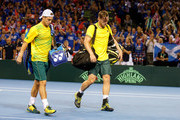 Lleyton Hewitt (L) and Sam Groth of Austrailier loose their Doubles Semi Final Match against Andy Murray and Jamie Murray of Great Britain during day 2 of the Great Britain v Australia Davis Cup Semi Final 2015 at the Emirates Arena on September 19, 2015 in Glasgow, United Kingdom.