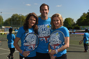 Former British No. 1 Tennis player Annabel Croft , Former British No.1 Greg Rusedski and TV Presenter Gabby Logan pose for pictures as they launch the Great British Tennis Weekend at Clapham Common on May 13, 2015 in London, England.