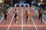 (R-L) Finette Agyapong of Great Britain, Marie Josee Ta Lou of Ivory coast, Allyson Felix of United States and Bianca Williams of Great Britain compete in the Women's 150 Metres race during the Great City Games on May 18, 2018 in Manchester, England.