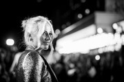 """Image has been converted to black and white) Pixie Lott attends the """"Greed"""" European Premiere during the 63rd BFI London Film Festival at the Odeon Luxe Leicester Square on October 09, 2019 in London, England."""