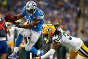 Reggie Bush #21 of the Detroit Lions jumps for a first down after a second quarter catch against the Green Bay Packers at Ford Field on September 21, 2014 in Detroit, Michigan.