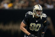 Jimmy Graham #80 of the New Orleans Saints against the Green Bay Packers at Mercedes-Benz Superdome on October 26, 2014 in New Orleans, Louisiana.
