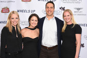 (L-R) Ginger Stickel,  Wendy Stapleton Reyes, Mark Teixeira and Colleen deVeer attend Greenwich Film Festival 2015 - Sports Guys On Sports Movies Premiere & After Party at Cole Auditorium at Greenwich Library on June 4, 2015 in Greenwich, Connecticut.
