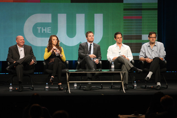 2012 Summer TCA Tour - Day 10 [event,performance,design,convention,adaptation,performing arts,stage,conversation,heater,talent show,marc guggenheim,actors,executive producers,katie cassidy,andrew kreisberg,greg berlanti,discussion panel,arrow,summer tca,portion]