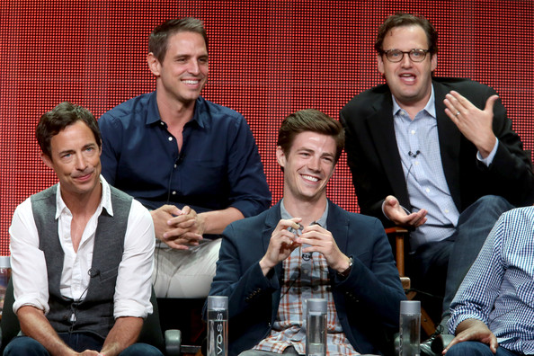 Summer TCA Tour: Day 11 [the flash,people,social group,event,youth,design,conversation,team,photography,recreation,performance,greg berlanti,actors,andrew kreisberg,grant gustin,tom cavanagh,top l-r,panel,bottom l-r,summer tca tour]
