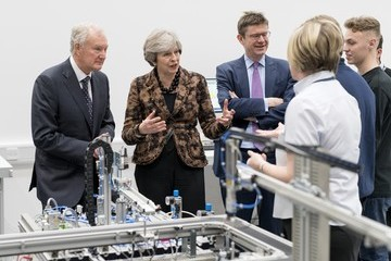 Greg Clark Prime Minister Theresa May Visits Engineering Training Facility in West Midlands