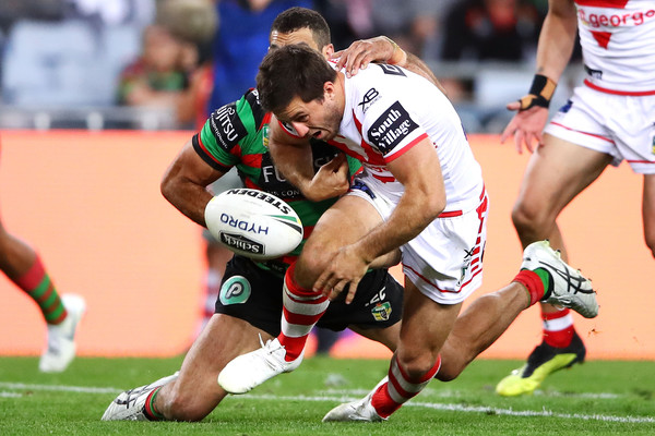 NRL Semi Final - Rabbitohs vs. Dragons [sports,team sport,ball game,tackle,rugby union,rugby player,rugby,games,rugby league,rugby sevens,greg inglis,ben hunt,v dragons,ball,anz stadium,south sydney rabbitohs,nrl,semi final,match,nrl semi final]