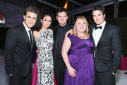 (L-R) Actors Paul Wesley and Nina Dobrev, Director Kevin Williamson, writer Julie Plec and actor Ian Somerhalder attend Grey Goose at 21st Annual Elton John AIDS Foundation Academy Awards Viewing Party at Pacific Design Center on February 24, 2013 in West Hollywood, California.