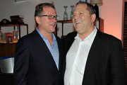 Founder of Soho House Nick Jones (L) and producer Harvey Weinstein attend Colin Firth's 50th birthday party at Grey Goose Soho House Club during the 2010 Toronto International Film Festival.