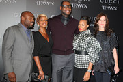 (L-R) Ffawn co-creator Steve Stoute, Singer Mary J. Blige, NBA player LeBron James, his girlfirend  Savannah Brinson, and Gucci President Daniella Vitale attend the Gucci cocktail party for Ffawn at Gucci Fifth Avenue on September 16, 2009 in New York City.