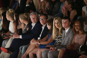 Klaus Wowereit (C-R), Frank Mutters, Vicky Leandros, Tanja Buelter and Paul Henry Duval attend the Guido Maria Kretschmar show during Mercedes-Benz Fashion Week Spring/Summer 2014 at Brandenburg Gate on July 3, 2013 in Berlin, Germany.