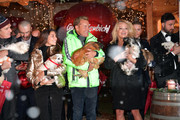 Dieter Bohlen and his partner Carina Walz (L) and Pamela Anderson during the Gut Aiderbichl Christmas Market opening on November 12, 2019 in Henndorf am Wallersee, Austria.