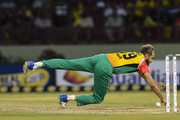 In this handout image provided by CPL T20, Imran Tahir of Guyana Amazon Warriors fielding during match 6 of the Hero Caribbean Premier League match between Guyana Amazon Warriors and Barbados Tridents at Guyana National Stadium on August 12, 2018 in Providence, Guyana.