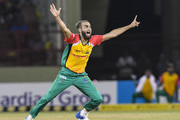 In this handout image provided by CPL T20, Imran Tahir of Guyana Amazon Warriors appeals for a wicket during the Hero Caribbean Premier League match 2 between Guyana Amazon Warriors and St Kitts & Nevis Patriots at Guyana National Stadium on August 9, 2018 in Providence, Guyana.