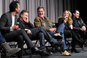 (L-R) Cast members Walton Goggins, Tim Roth, Kurt Russell, Jennifer Jason Leigh and Demian Bichir attend the Hateful Eight SAG Screening and Q&A at the Pacific Design Center on December 5, 2015 in West Hollywood, California.