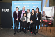 """(L-R) DOC NYC Artistic Director Thom Powers, Director Marc Levin, film subject Rosa, President of HBO Documentary Films Sheila Nevins, Producer Daphne Pinkerson, and Senior Vice President of HBO Documentary Films Nancy Abraham attend the HBO Documentary Film """"Class Divide"""" screening during DOC NYC at SVA Theater on November 15, 2015 in New York City."""