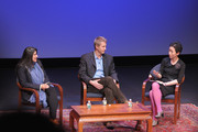 """(L-R) Filmmakers Sharmeen Obaid-Chinoy and Daniel Junge, and Asia Society Cultural Programs Assistant Director/Film Curator La Frances Hui take part in a Q&A following HBO's documentary screening of the Oscar winning film """"Saving Face"""" at Asia Society on March 5, 2012 in New York City."""