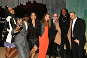 """(L-R) Cast members Kiki Layne, Ashton Sanders, playwright Suzan-Lori Parks, guest, producer Matthew Perniciaro, director Rashid Johnson and producer Michael Sherman attend the afterparty for HBO's """"Native Son"""" screening at Guggenheim Museum on April 1, 2019 in New York City."""