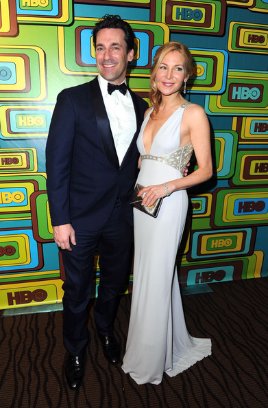 Actor Jon Hamm and actress Jennifer Westfeldt attend HBO's Post 2011 Golden Globe Awards Party held at The Beverly Hilton hotel on January 16, 2011 in Beverly Hills, California.