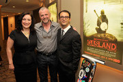 "(L-R)  Producer Trish Adlesic, actor Aidan Quinn, and director Josh Fox attend The HBO Special Screening Of ""Gasland Part II"" at HBO Theater on June 25, 2013 in New York City."