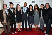 (L-R) Paul T. Lehr, Justice Smith, Analisa Gutierrez, Joseph Wood, Karen Goodman, Jaz Sinclair, Julian Aldana-Tejada and Kirk Simon attend HBO's YoungArts MasterClass: Anna Deavere Smith Screening At The Metropolitan Museum Of Art on April 7, 2014 in New York City.