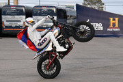 """Travis Pastrana peforms during HISTORY's Live Event """"Evel Live"""" on July 8, 2018 in Las Vegas, Nevada."""