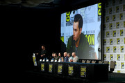 (L-R) Damian Holbrook, Michael Malarkey, Laura Mennell, Neal McDonough, David O'Leary and Sean Jablonski attend HISTORY's Project Blue Book SDCC Panel 2019 at Hilton San Diego Bayfront Hotel on July 20, 2019 in San Diego, California.