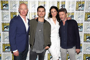 (L-R) Neal McDonough, Michael Malarkey, Laura Mennell and Aidan Gillen attend HISTORY's Project Blue Book SDCC Panel 2019 at Hilton San Diego Bayfront Hotel on July 20, 2019 in San Diego, California.