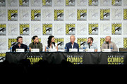 (L-R) Aidan Gillen, Michael Malarkey, Laura Mennell, Neal McDonough, David O'Leary and Sean Jablonski attend HISTORY's Project Blue Book SDCC Panel 2019 at Hilton San Diego Bayfront Hotel on July 20, 2019 in San Diego, California.