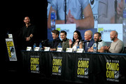 (L-R) Damian Holbrook, Aidan Gillen, Michael Malarkey, Laura Mennell, Neal McDonough, David O'Leary and Sean Jablonski attend HISTORY's Project Blue Book SDCC Panel 2019 at Hilton San Diego Bayfront Hotel on July 20, 2019 in San Diego, California.