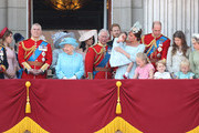 Princess Beatrice, Lady Louise Windsor,  Prince Andrew, Duke of York, Queen Elizabeth II, Meghan, Duchess of Sussex, Prince Charles, Prince of Wales, Prince Harry, Duke of Sussex, Catherine, Duchess of Cambridge, Prince William, Duke of Cambridge, Princess Charlotte of Cambridge, Savannah Phillips, Prince George of Cambridge and Isla Phillips on the balcony of Buckingham Palace during Trooping The Colour on June 9, 2018 in London, England. The annual ceremony involving over 1400 guardsmen and cavalry, is believed to have first been performed during the reign of King Charles II. The parade marks the official birthday of the Sovereign, even though the Queen's actual birthday is on April 21st.