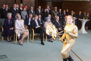 (L-R) Princess Maxima, Prince Willem Alexander, Queen Beatrix of the Netherlands, Saxony's Prime Minister Stanislaw Tillich watch a performance during the reception of the state's Prime Minister in the state chancellery on April 14, 2011 in Dresden, Germany. The Dutch royals are on a four-day visit to Germany that includes stops in Berlin, Dresden and Duesseldorf.