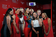 (L-R) Inbee Park, Suzann Pettersen, Jessica Korda, Michelle Wie, Anna Nordqvist, Chella Choi, Paula Creamer and Lydia Ko pose on the catwalk at the launch event for the  HSBC Women's Champions at the Fairmont Hotel on March 3, 2015 in Singapore, Singapore.