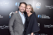 Jason Priestley and Naomi Lowde-Priestley attend the 60th Anniversary Party For The Monte-Carlo TV Festival at Sunset Tower Hotel on February 05, 2020 in West Hollywood, California.