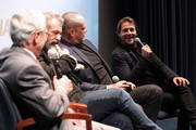 "(L to R) Medal of Honor recipient Col. Jack Jacobs, Director Mel Gibson, Actor Vince Vaughn and Actor Luke Bracey participate in a Q&A panel discussion at the ""Hacksaw Ridge"" DC Screening at the Navy Memorial and Naval Heritage Center on October 28, 2016 in Washington, DC."