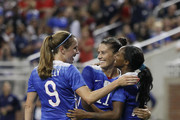 Crystal Dunn #25 of the United States is congratulated by Ali Krieger #11 of the United States and Heather O'Reilly #9 of the United States following a goal during the second half of the U.S. Women's 2015 World Cup victory tour match at Ford Field on September 17, 2015, in Detroit, Michigan. The US defeated Haiti 5-0.