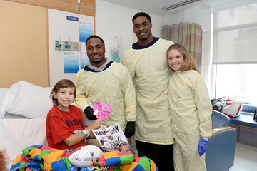 Haley Grissom Dion Lewis And Geneo Grissom Throw a Valentine's Day Party For Patients At Boston Children's Hospital