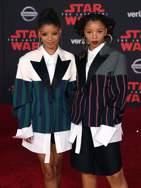 Premiere of Disney Pictures and Lucasfilm's 'Star Wars: The Last Jedi' - Arrivals [star wars: the last jedi,clothing,carpet,suit,outerwear,formal wear,premiere,event,flooring,red carpet,blazer,chloe bailey,actresses,singers,halle bailey,halle,lucasfilm,disney pictures,l,premiere]