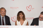 Dr. Dennis Slamon, actress Halle Berry, and Lorenzo Delpani attend the Halle Berry lunch celebration for Women Cancer Research at Four Seasons Hotel Los Angeles at Beverly Hills on June 3, 2015 in Los Angeles, California.