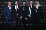 (L-R) Editor In Chief, Los Angeles Confidential Spencer Beck, Jamie Dornan, Publisher, Modern Luxury Chris Gialanella Chris Gialanella, director  Matthew Heineman and cinematographer Robert Richardson attend the Hamilton Behind the Camera Awards presented by Los Angeles Confidential Magazine on November 4, 2018 in Los Angeles, California.