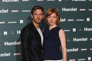"""Dan Stevens and wife Susie Stevens attend the press night of """"Hamlet"""" at Barbican Centre on August 25, 2015 in London, England."""