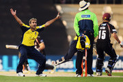 Imran Tahir of Hampshire appeals to the umpire during the Friends Life T20 match between Hampshire and Somerset at The Rose Bowl on June 1, 2011 in Southampton, England.