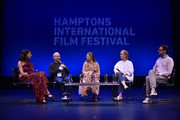 """Actress Dolly Wells,  Executive Producer Bob Balaban, Amy Nauiokas, producer Anne Carey and Artistic Director to Hamptons International Film Festival David Nugent speak on stage during the Q&A for """"Can You Ever Forgive Me?"""" at Guild Hall during Hamptons International Film Festival 2018 - Day Four on October 7, 2018 in East Hampton, New York."""