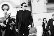 """This image has been converted in black and white) Matt Dillon attends the red carpet of the movie """"The Hand Of God"""" during the 78th Venice International Film Festival on September 02, 2021 in Venice, Italy."""