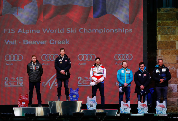 FIS Alpine World Ski Championships: Day 4 [stage equipment,technology,electronic device,heater,podium,competition,event,performance,talent show,stage,tie,dustin cook,adrien theaux,l-r,medalist,place finishers,place finisher,austria,norway,fis alpine world ski championships]