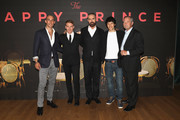 (L-R) Actors Tom Colley, Edwin Thomas, Director Rupert Everett and actors Colin Morgan and Julian Wadham attend the UK premiere of 'The Happy Prince' at Vue West End on June 5, 2018 in London, England.