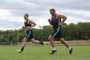 Mike Brown and Chris Robshaw of Harlequins in training during the Harlequins Pre-Season Training Session at Surrey Sports Park on August 8, 2018 in Guildford, England.
